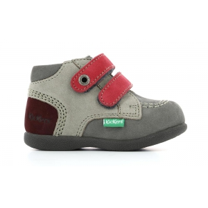 Kickers BABYSCRATCH GREY PINK GRIOTTE
